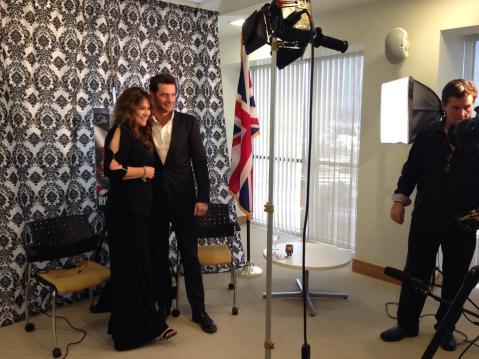 "Anglophile Channel Creator and Executive Producer Marlise Boland with RA, together for an interview and for RA to receive the ""Favorite British Artist of the Year Award (2013)"""