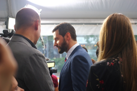 "Richard Armitage US Special Correspondent gets this shot of the man himself on the (Black) Carpet of the ""Into the Storm"" NYC Premiere!"