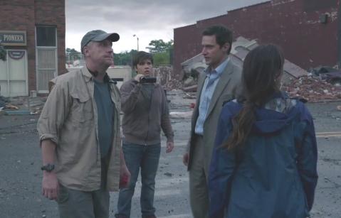 Pete (Matt Walsh), Trey (Nathan Kress, Gary (RA) and Allison (Sarah Wayne Callies) take stock after the first wave of storms.