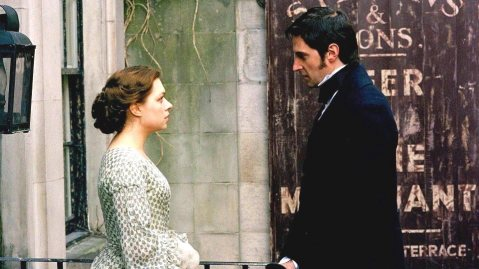 Daniela Denby-Ashe (Margaret Hale) and Richard Armitage (John Thornton) in North & South. (Premiere date: November 14, 2004.)