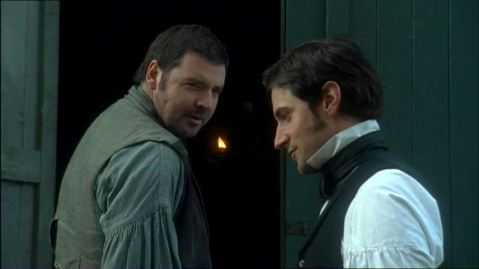 Brendan Coyle (Nicholas Higgins) with Richard Armitage (John Thornton) in North & South. (Premiere date: November 14, 2004.)