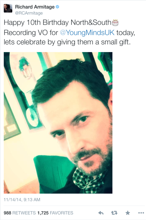Celebrating 10 years of N&S: To support Young Minds, you may go to RA's Just Giving page here https://www.justgiving.com/Richard-Armitage13, and also send a note of thanks to RA and YM for all they do OR you may go directly to Young Minds' donation page here: http://www.youngminds.org.uk/support_our_work/donate.