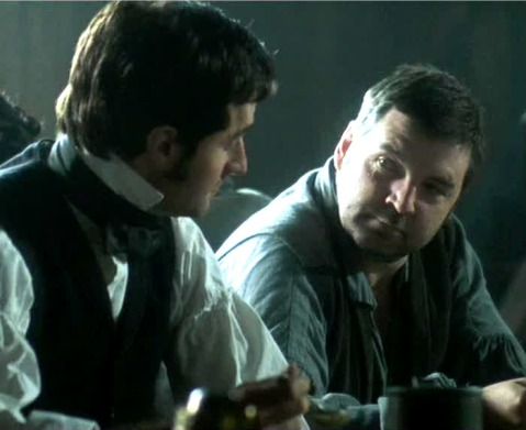 Becoming friends: Thornton and Higgins share a very good stew.