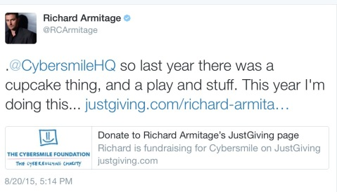 The full link is https://www.justgiving.com/richard-armitage17/ to wish RA a happy birthday by donating to Cybersmile!