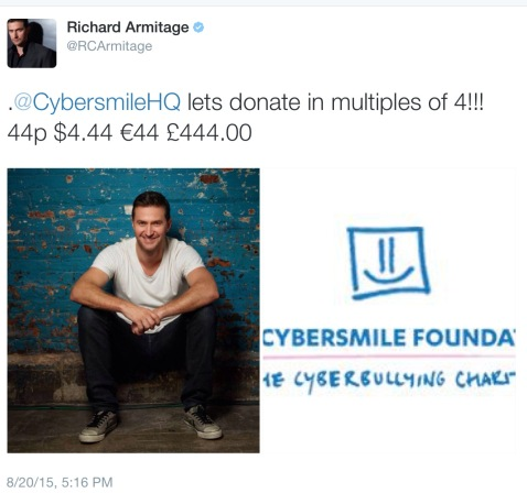 Multiples of 4! Got it? Easy! Not easy enough? Here's the direct link: https://www.justgiving.com/richard-armitage17/